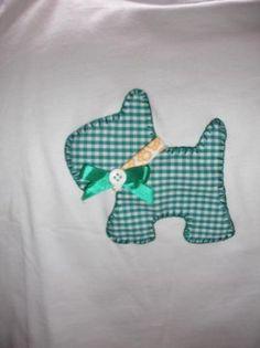camiseta personalizada manga corta, perrito vichy verde camiseta algodon,tela vilella cosido a mano