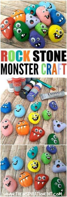 Crafts for kids - Halloween Monster Rocks A Fun Craft For Kids – Crafts for kids Crafts For Teens To Make, Easy Crafts For Kids, Toddler Crafts, Preschool Crafts, Simple Craft Ideas, Crafts For Children, Craft Ideas For Adults, Stone Crafts, Rock Crafts