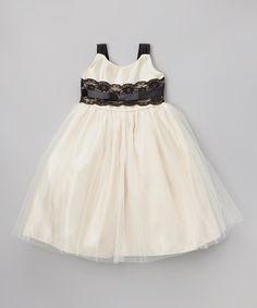 Champagne Lace A-Line Dress - Toddler & Girls #zulily #zulilyfinds