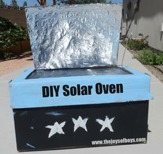 How to build a solar oven from items you have around the house.  We've already used it to bake cookies!  My boys love the idea of cooking outside.  www.thejoysofboys.com