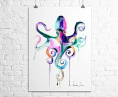 Watercolor tattoos are amazing. The octopus symbolizes many qualities, but my favorites are adaptability and intelligence. People who are very resilient should get an octopus tattoo :)