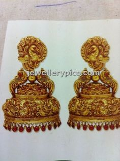 Hand work Gold jhumka designer model by Manjula jewels - Latest Jewellery Designs