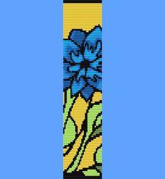 Blue Flower Bracelet Bead Pattern Loom Only