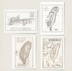 台灣老地圖C系列 明信片(4款一套) - BuyWow Pup 小白襪 | Pinkoi
