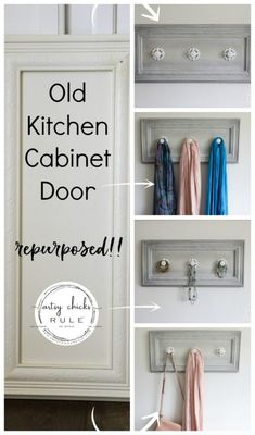 Old Cabinet Door Repurposed (use it as a coat rack, jewelry organizer, scarf organizer and more. Cabinet Door Crafts, New Cabinet Doors, Repurposed Items, Repurposed Furniture, Reclaimed Furniture, Painted Furniture, Refurbished Cabinets, Diy Coat Rack, Coat Racks