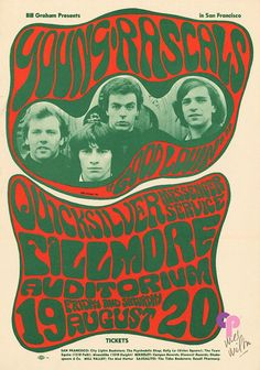 Classic Poster - Young Rascals at Fillmore Auditorium 19th and 20th August 1966 by Wes Wilson
