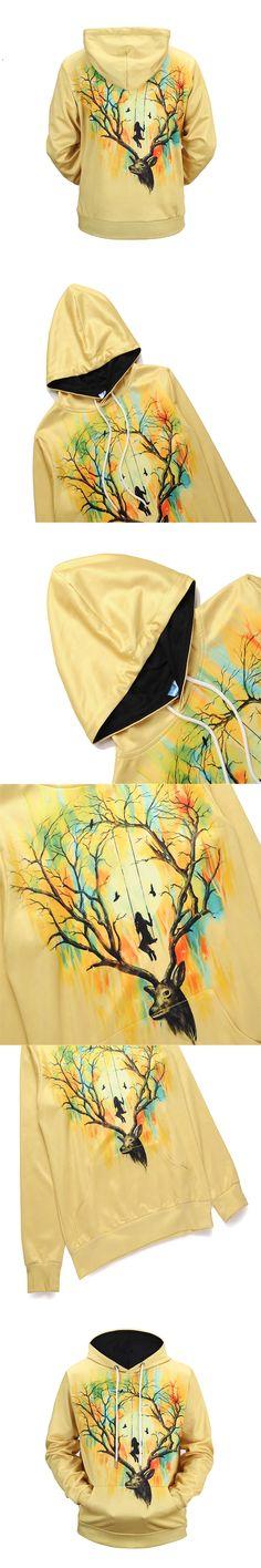 New Arrivals Men/Women 3d Sweatshirts with Hat Print Flowers Fruit Antlers Deer Thin Hooded Hoodies