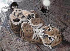 Un bebé Smilodon y una araña por Blair Sampson. Qué cuco.