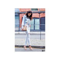 SheIn(sheinside) Boyfriend Trends Jean Swish Bleached Denim Blouse (€15) ❤ liked on Polyvore featuring tops, blouses, long sleeve blouse, boyfriend tank top, button blouse, embellished collar top and long sleeve tops