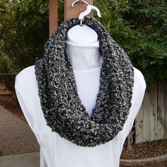 0f5cf8610 Large Chunky Black, Gray, Off White COWL SCARF, Soft Thick Bulky Crochet  Knit Winter Infinity Loop Acrylic Hood Snood, Women's Neck Warmer