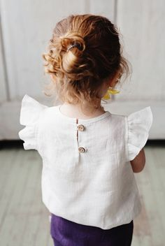Handmade Linen Blouse With Flutter Sleeves   NoisyForest on Etsy