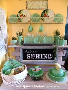 My Thrift Store Addiction : Spring in the Kitchen: Happy Green Easter! Spring Kitchen Decor, Green Milk Glass, Vintage Dishes, Vintage Pyrex, Antique Dishes, Vintage Kitchenware, Antique Glassware, Fenton Glassware, Hello Spring