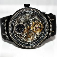 Diamond Joe Rodeo Master Mens Watch Automatic Black PVD Skeleton Dial 2.5ct 46m #MidwestJewellers