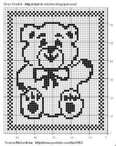 Free Filet Crochet Charts and Patterns: Filet Crochet Bear - Chart A