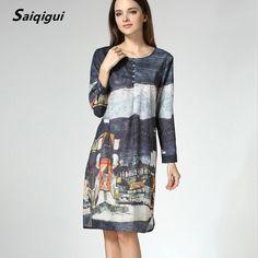 82d4af50 Saiqigui Spring Summer dress New Fashion women dress long sleeve casual  loose Printed o-neck