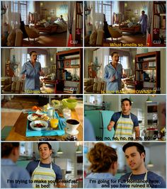 Mon-El in an apron is everything you never knew you needed. And Kara getting excited about food is as great as always <3. (Still not over Mon-El cooking, though. And BREAKFAST! As a non-morning person who hates to cook, that's a HUGE deal. I seriously heart this boy.) |TV Shows|CW|#Supegirl funny edit|Season 2|2x17|Distant Sun opening scene|Kara x Mon-El|#Karamel edit|Kara Danvers|Melissa Benoist|Chris Wood|#DCTV|Favorite couples|Favorite ships|