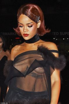 Peek-a-boo: Rihanna's unfortunate nip-slip overshadowed her vintage themed ensemble ...