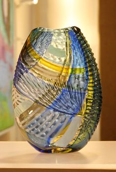 one of my latest ORIGAMI vases Blown Glass Art, Art Of Glass, Cut Glass, Glass Vase, Sandblasted Glass, Eye For Detail, Dutch Artists, Glass Ceramic, Stained Glass Windows
