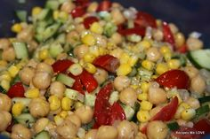 Chickpea Salad: 2 cups chickpeas, 1 cup fozen corn, 1 cup quartered cherry tomatoes, 1/3 sweet onion diced, 1/2 English cucumber diced, 1-2 limes juice only, cilantro, garlic, salt, pepper, dill, 1 1/2 tbp rice vinegar, 1 1/2 tbsp olive oil