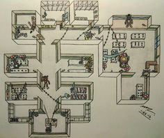 Five Nights at Freddy's 2 Map lay out.. I'm gonna use this to make a 5NAF2 Map in minecraft XD