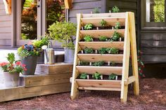 great idea for an outdoor classroom, vertical herb garden--creating these would allow for more plants so students could have more direct experiences