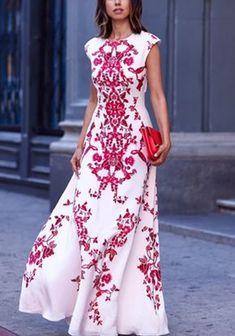 White Red Flowers Print Elegant Chiffon Maxi Dress - Maxi Dresses - Dresses