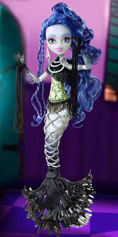 Sirena Von Boo Monster High Doll (I have her.) - Her father is a ghost and her mother is a mermaid. She is 17. She's very curious, and loves to treasure hunt in the sea. She likes to combine fashions from both sides of her scaritage, like intertwining strings of pearls with chains. Her pet peeve is that she hates being anchored to one spot. Her freaky flaw is that some monsters think she's a bit of an air fin, but what she actually is is a daydreamer.