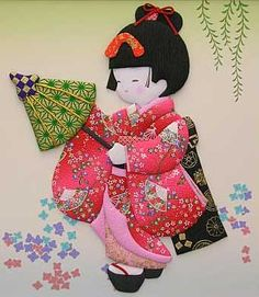 handmade ... quilt picture ... real kimono fabric used to create this girl and her parasol ...