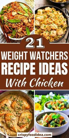 Low Calorie Chicken Recipes, Chicken Breast Recipes Healthy, Easy Chicken Recipes, Healthy Recipes, Ww Recipes, Home Recipes, Weight Watchers Meal Plans, Weight Watcher Dinners, Recipes