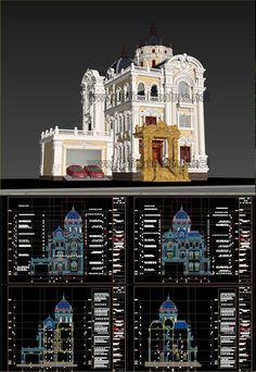 Hồ sơ thiết kế Biệt thự lâu đài 4 Tầng Tân cổ điển diện tích 15,6x17m - 0114 Full cad và 3d