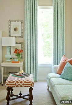 soft color scheme: aqua with pops of peachy coral; touch of walnut, ...