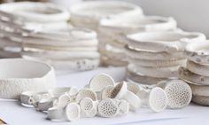 Katherine Wheeler: Porcelain rock coral bangles