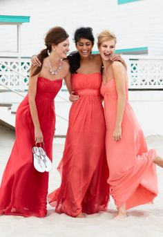 Shop by color to find Coral Reef pink bridesmaid dress styles from #DavidsBridal by clicking above. Then, build a tux using the @Mariah Nelson's Wearhouse Tuxedo  online tool: tuxedo.menswearhouse.com/buildATux.do