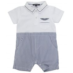 Aston Martin Baby Boys White Baby Brow with Blue Striped Bottoms and Logo