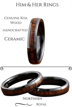 Wood handcrafted his and her wedding band set. These rings are handcrafted out of koa wood and High-tech ceramic.