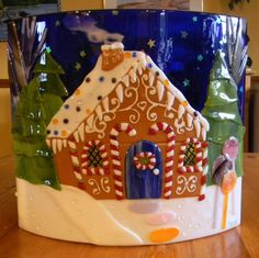 Gingerbread House Fused Glass