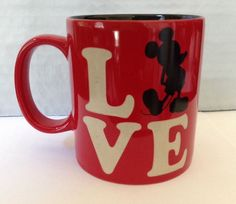 Disney Store Mickey Mouse Love Coffee Mug Cup Large Red 16 oz Heart Pasadena