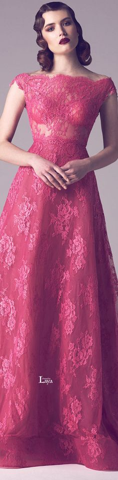 Fadwa Baalbaki ~ Couture Spring Pink Embroidered Lace Gown w Cap Sleeves 2015 Beauty And Fashion, Pink Fashion, Couture Fashion, Runway Fashion, Dress Fashion, Beautiful Gowns, Beautiful Outfits, Pretty Dresses, Women's Dresses