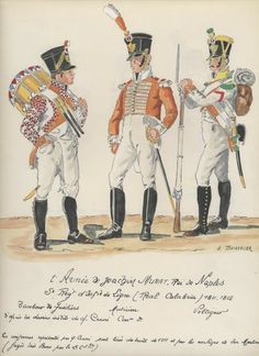 Naples Line Infantry(Real Calabria(Royal Calabrians), Fusilier Drummer, Musician & Voltigeur, by H. Kingdom Of Naples, Kingdom Of Italy, War Drums, Italian Army, Tambour, French Empire, Naples Italy, French Revolution, Napoleonic Wars