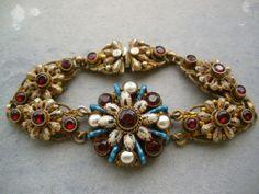 Antique Victorian Austro Hungarian Silver Gilt Enamel Garnets Pearls Bracelet | eBay $599