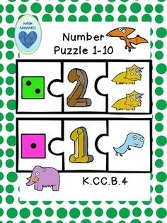 Help your students practice number identification and one-to-one correspondence with this fun math puzzle from Autism Adventures. Three piece puzzles for numbers 1-10 are included. Each puzzle has the numeral in the middle, the number dice on the left, and the number of corresponding dinosaur clipart on the right.Like this product?