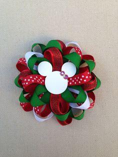 Christmas Hair Bow, Christmas bow, Disney Christmas Hair Bow, Mickey Mouse Hair Bow, Christmas Mickey Mouse Bow on Etsy, $6.50