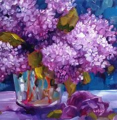 "Daily Paintworks - ""Love of Lilacs"" - Original Fine Art for Sale - © Libby Anderson"