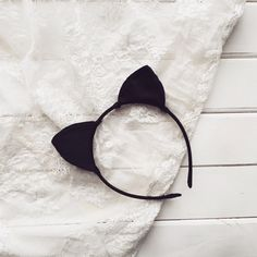 Black silk cat ears, Cat ears, Cat Headband, Ariana Grande, Kitten ear, Kitty ear, Ear Headband, Bachelorette, Costume ear, Party ears  ♥…