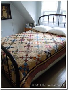 Irish Chain using a scrappy nine patch quilt- there is something I just love about these simple scrappy projects!
