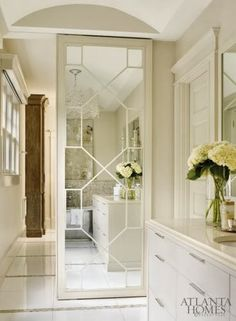 Courtney Giles - cream bathroom, mirror with design Cream Bathroom, White Bathroom, Master Bathroom, Master Closet, Master Suite, Small Bathroom, Br House, Casa Clean, Atlanta Homes