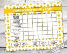 Girl Chore chart printable, Girl Reward Chart, Responsibility Chart, Weekly Chore Chart, Behavior Chart, chart for girls, YOU EDIT PDF by sugarpickledesigns. Explore more products on http://sugarpickledesigns.etsy.com
