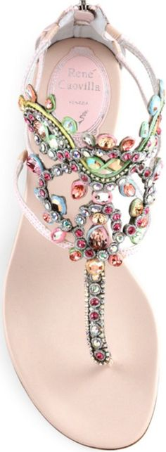 Rene Caovilla Swarovski Crystal-Embellished Snakeskin Sandals