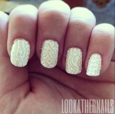 Look At Her Nails! — My nails this week! Cable-knit sweater inspired to...