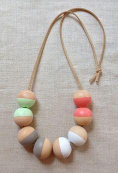 Modern Geometric Wood Bead Necklace, $20
